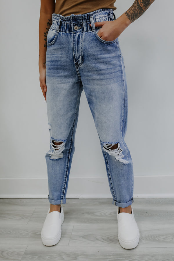 High Rise Paper Bag Waist Distressed Kancan Jeans | Stylish & Affordable | UOI Online