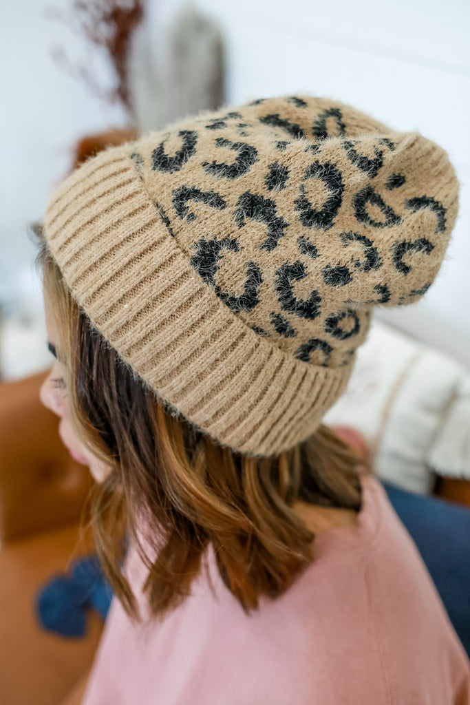 Leopard Print Knit Beanie | Stylish & Affordable | UOI Online