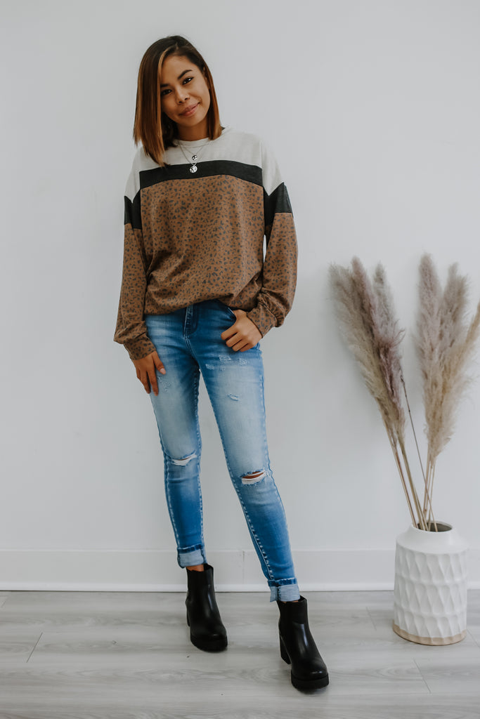 Long Sleeve Leopard Print Color Block Sweatshirt | Stylish & Affordable | UOI Online