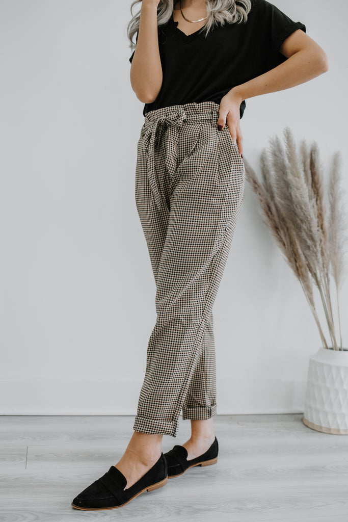 High Rise Paper Bag Waist Gingham Pants | Stylish & Affordable | UOI Online