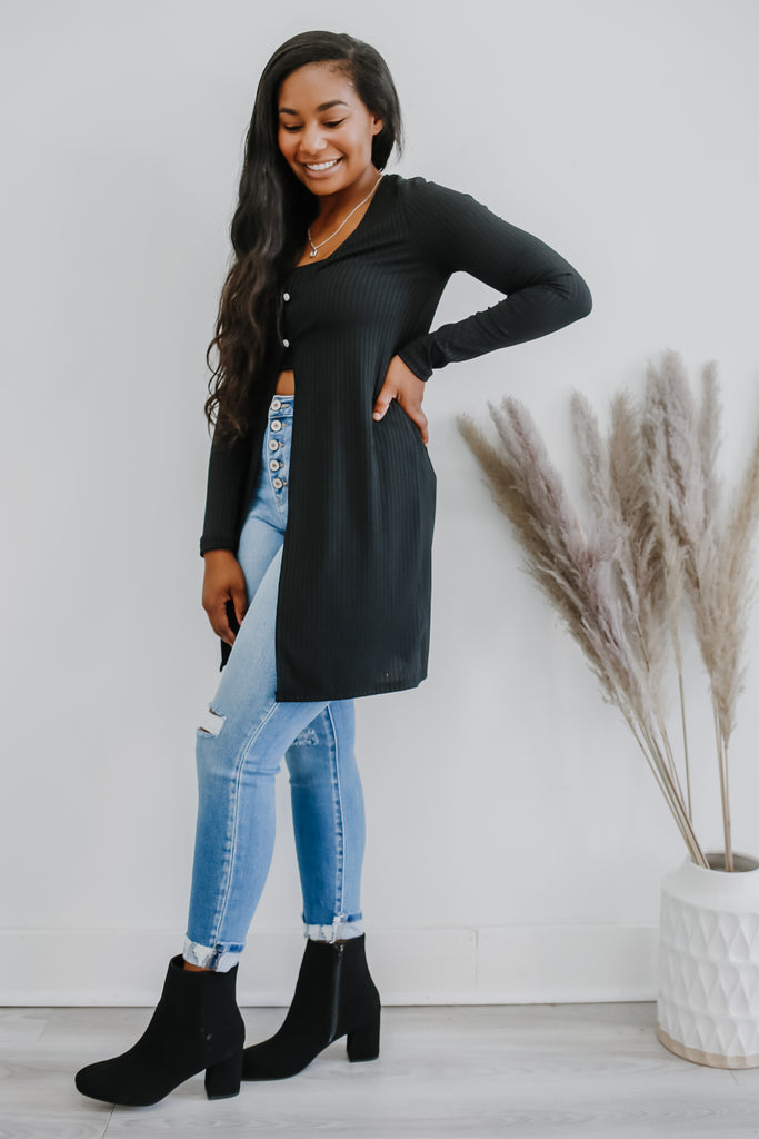 Long Sleeve Ribbed Two Piece Cardigan Set | Stylish & Affordable | UOI Online