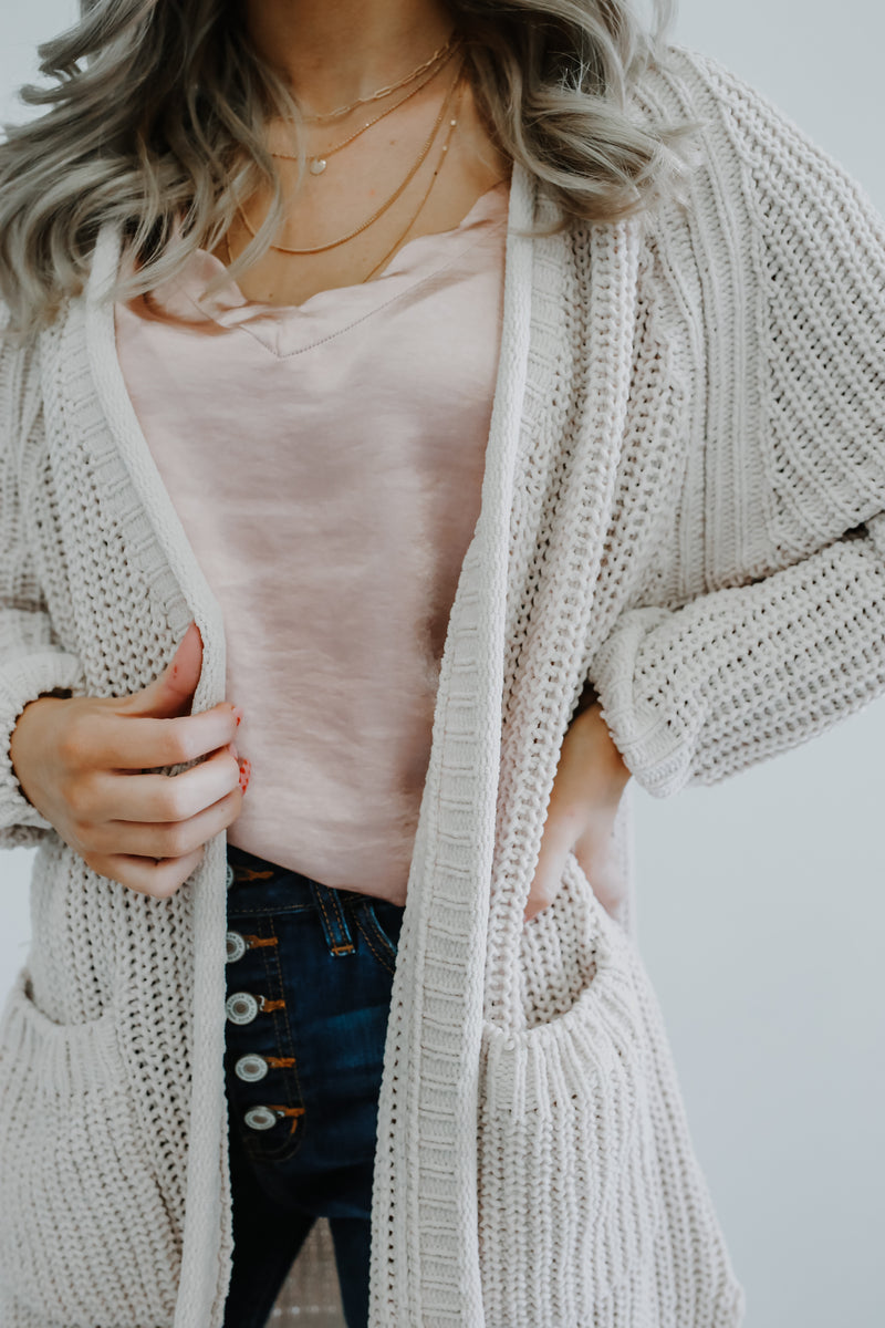 Open Front Chunky Knit Cardigan | Stylish & Affordable | UOI Online