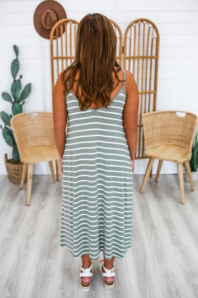 Striped Cami Strap Midi Dress | Stylish & Affordable | UOI Online