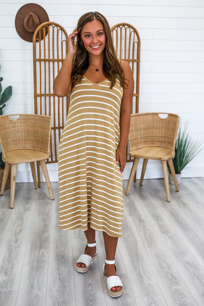 Striped Cami Strap Dress | Stylish & Affordable | UOI Online