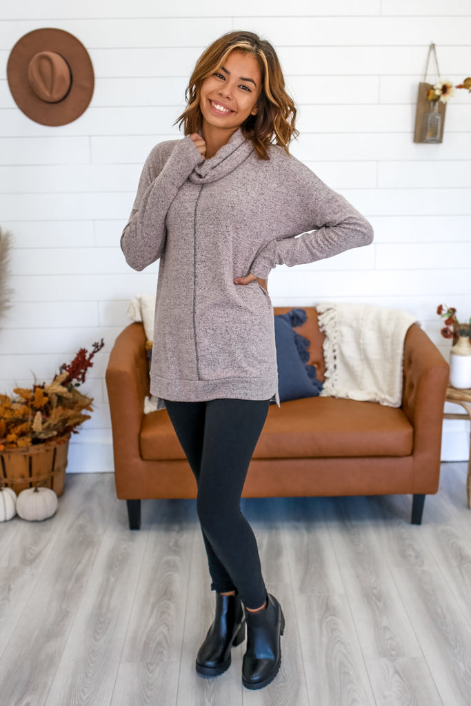 Long Sleeve Cowl Neck Brushed Knit Top | Stylish & Affordable | UOI Online