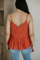 Fully Lined Embroidered Peplum Tank | Stylish & Affordable | UOI Online