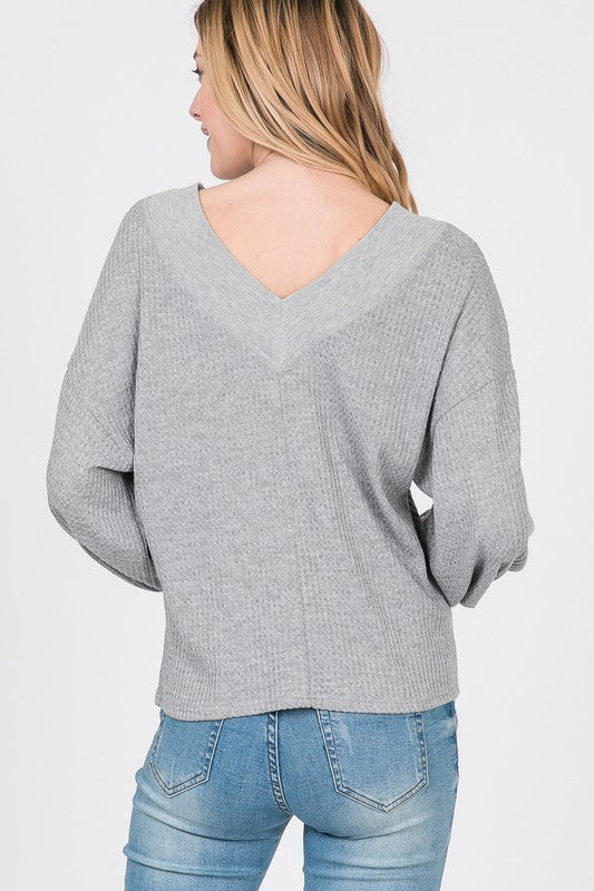 Balloon Sleeve Waffle Knit Top - Online Clothing Boutique