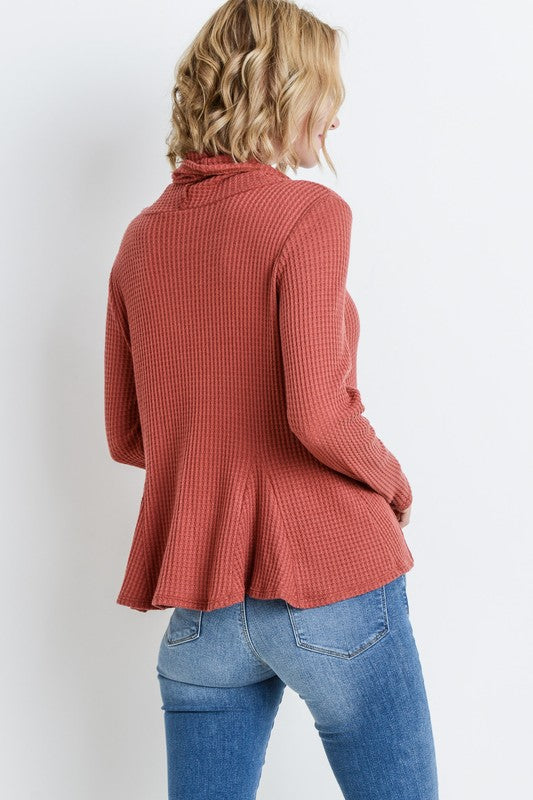 Waffle Knit Cowl Neck Top - Online Clothing Boutique