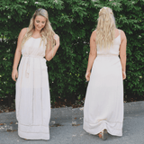 V-neckline Self Tie Waist Crochet Accents Maxi Dress