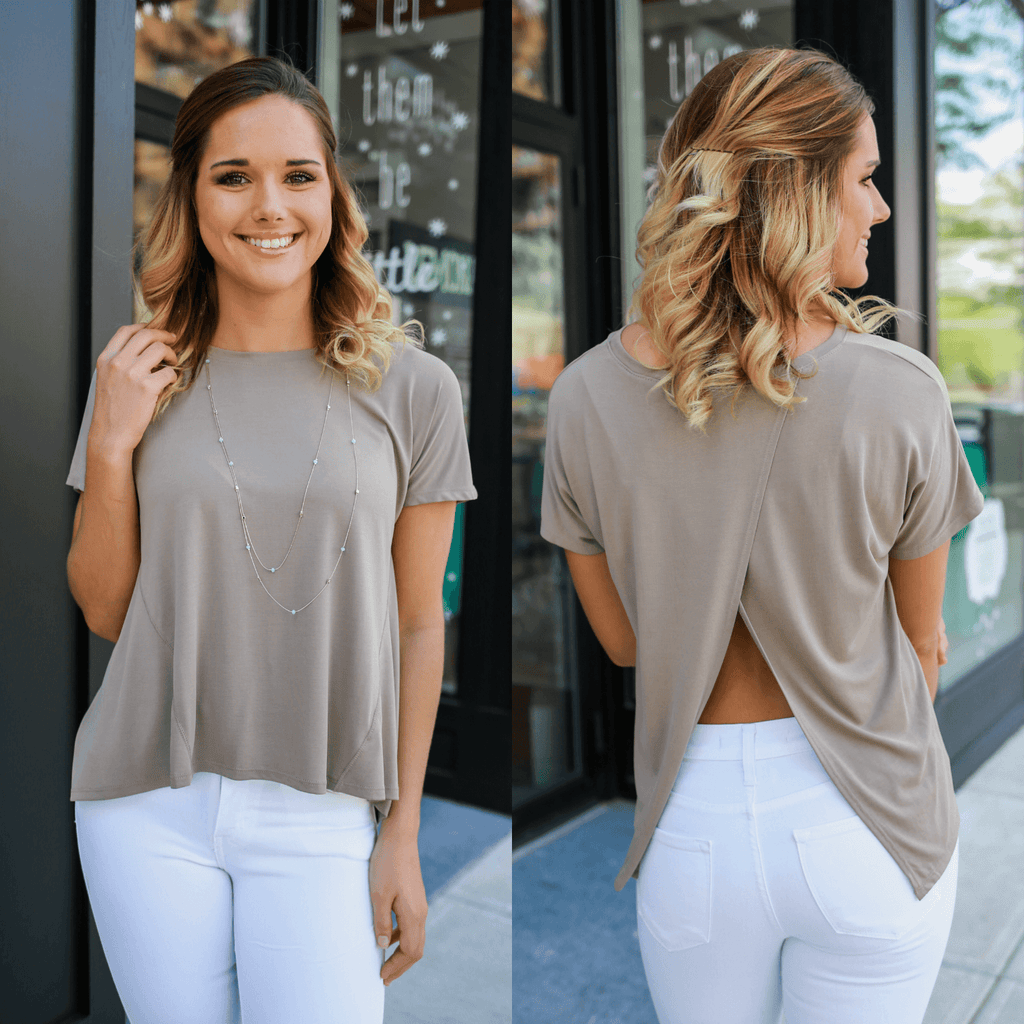 Short Sleeve Round Neck Split Back Top