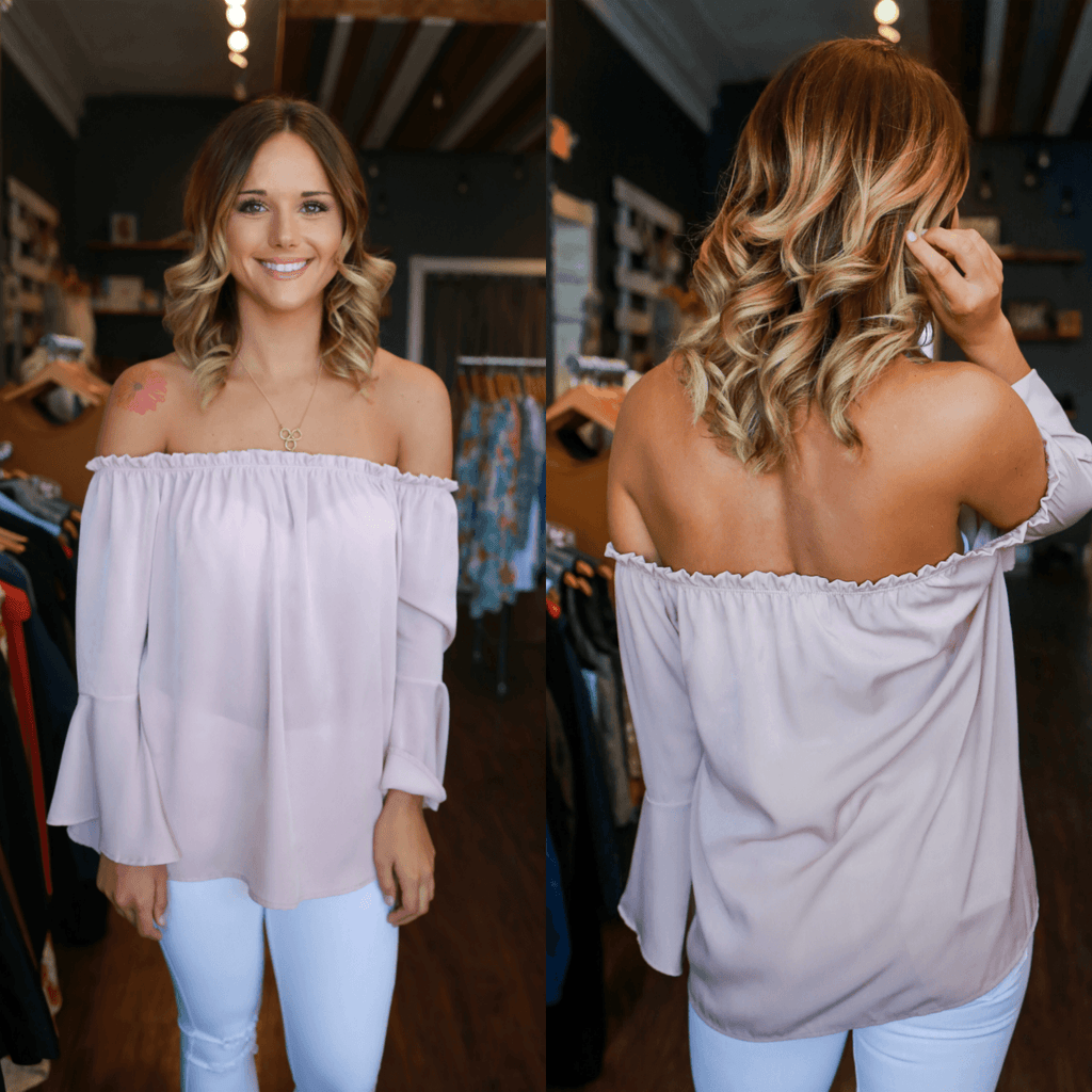 Blush Off The Shoulder Bell Sleeve Satin Top
