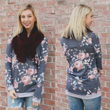 Floral Print Long Sleeve Round Neck Sweatshirt Top