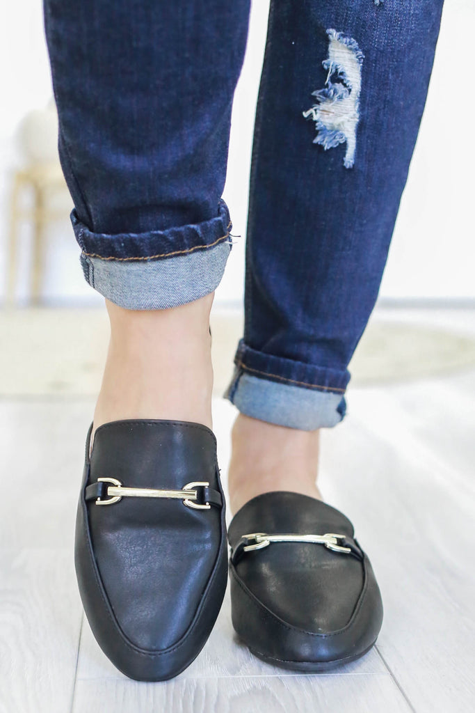 Faux Leather Mules - Online Clothing Boutique