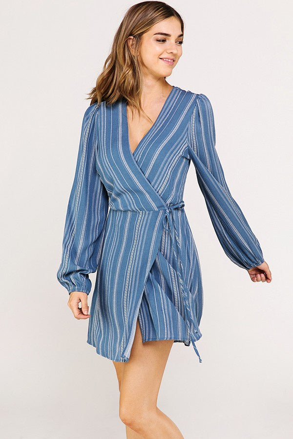 Long Sleeve Tribal Print Wrap Dress - Online Clothing Boutique