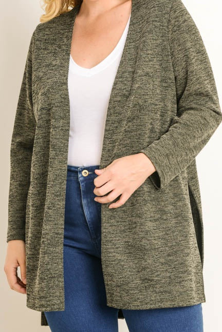 Plus Size Ribbed Cardigan - Online Clothing Boutique