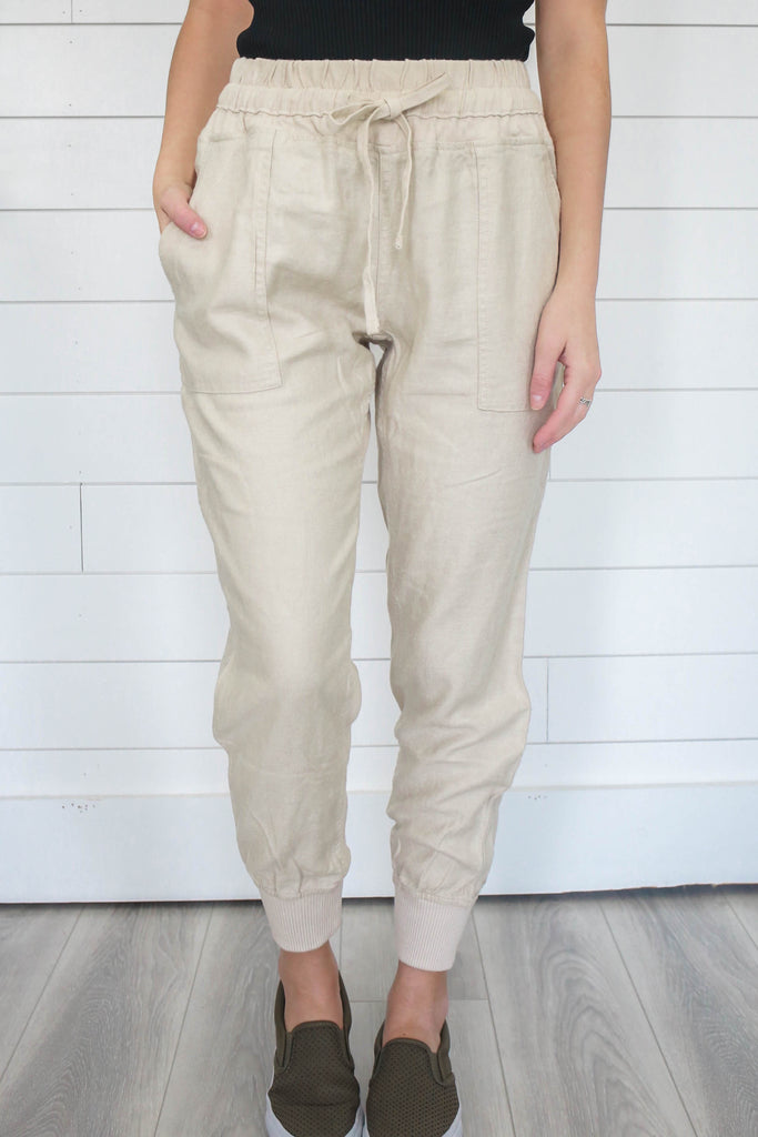 Linen Joggers - Online Clothing Boutique