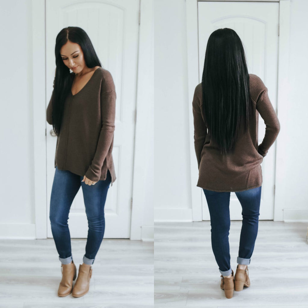 V-Neck Knit Sweater - Online Clothing Boutique