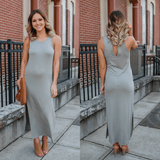 Sage Sleeveless Short Side Slits Keyhole Back Maxi Dress