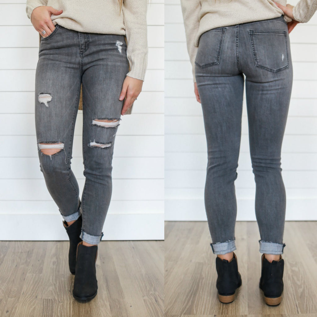 Grey Distressed Denim - Online Clothing Boutique