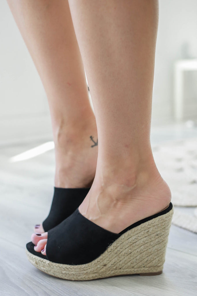 ROBBIE Faux Suede Espadrille Wedges - Online Clothing Boutique