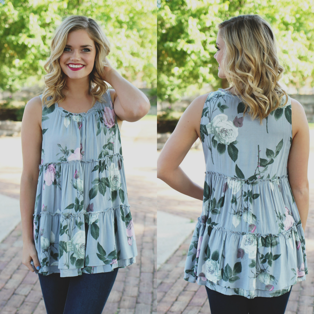 Floral Round Neck Ruffle Accent Sleeveless Trapeze Top