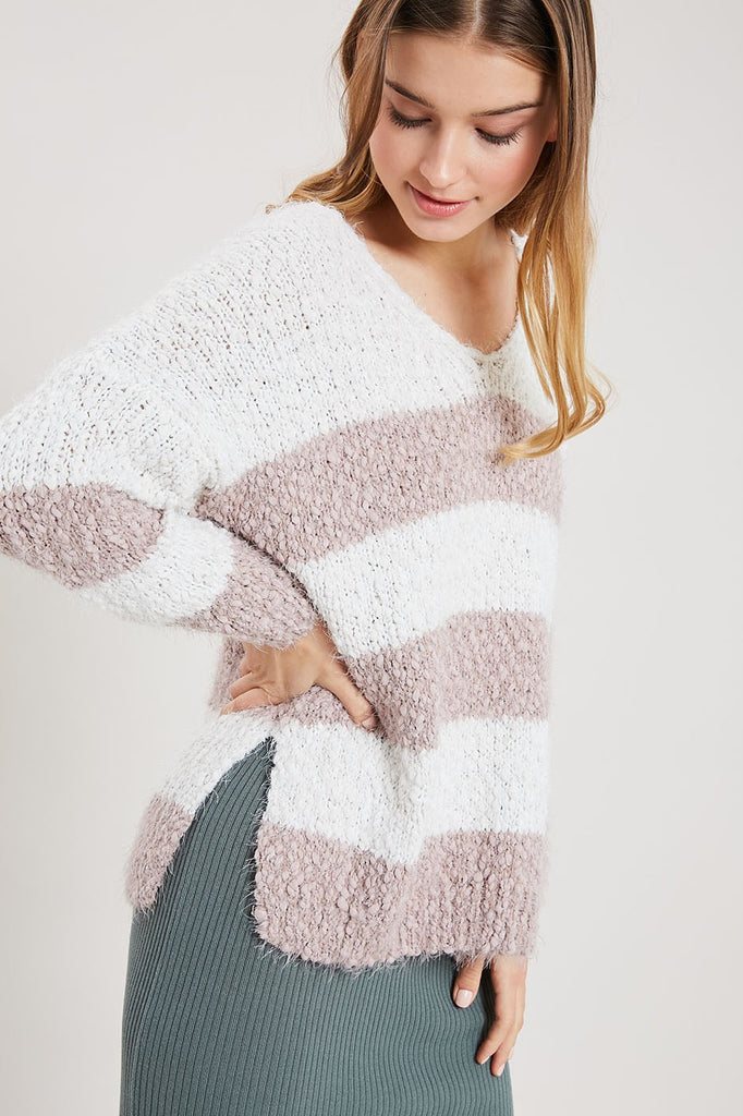 Striped V-Neck Knit Sweater - Online Clothing Boutique