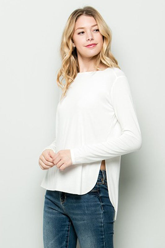 Long Sleeve Raw Hem Top - Online Clothing Boutique