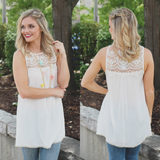 Ivory Lace Yoke Pom Pom Trim Sleeveless Tunic