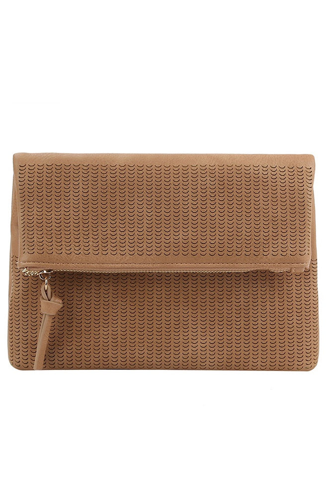 Perforated Faux Leather Crossbody Bag - Online Clothing Boutique