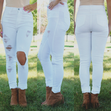 White High Waisted Destroyed Denim