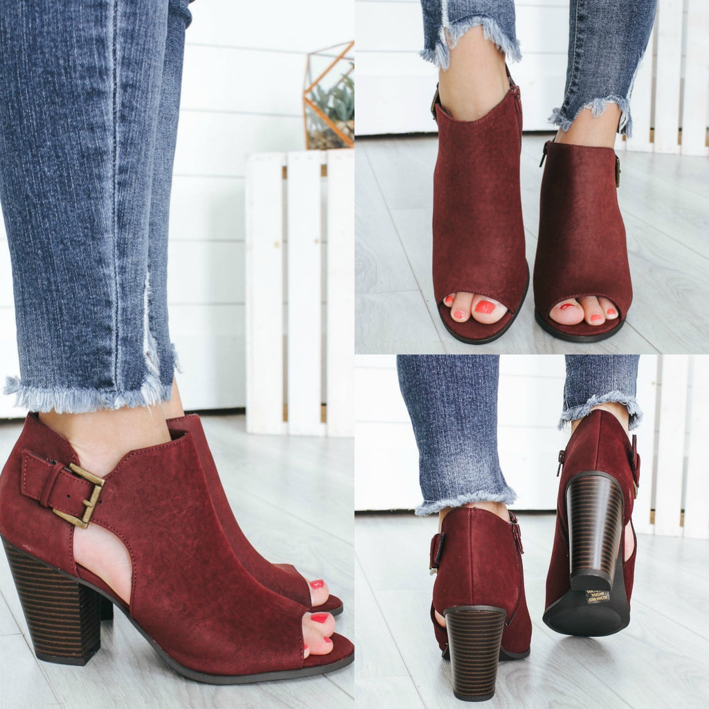 TANG-S Peep-Toe Ankle Booties - Online Clothing Boutique