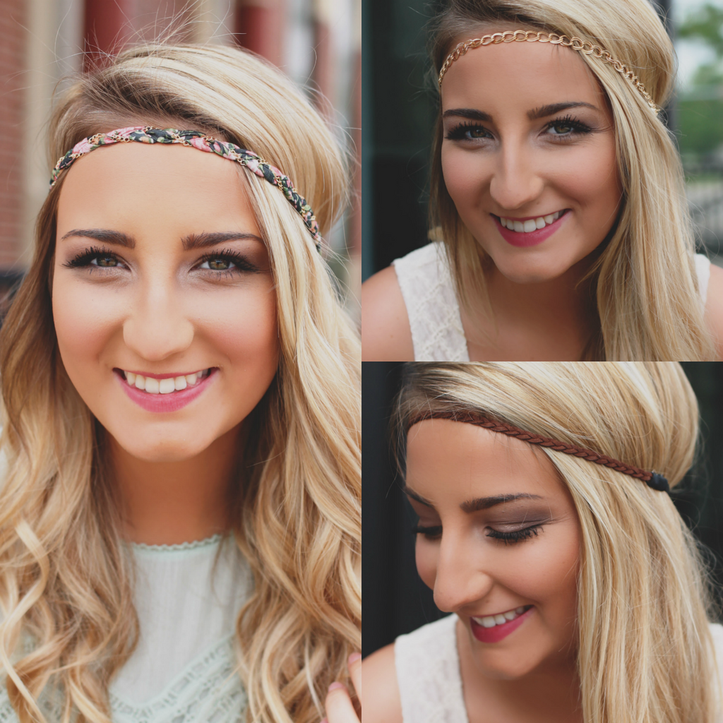 Faux Leather Gold Chain Floral Fabric Headband Set