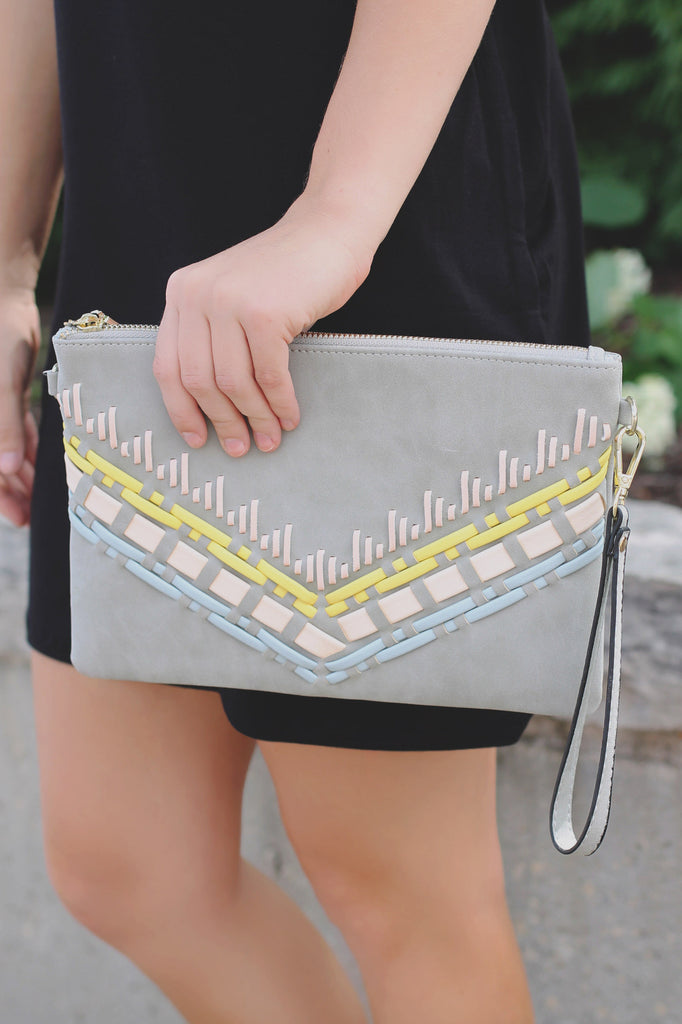 Distressed Vegan Leather Woven Detail Wristlet Clutch