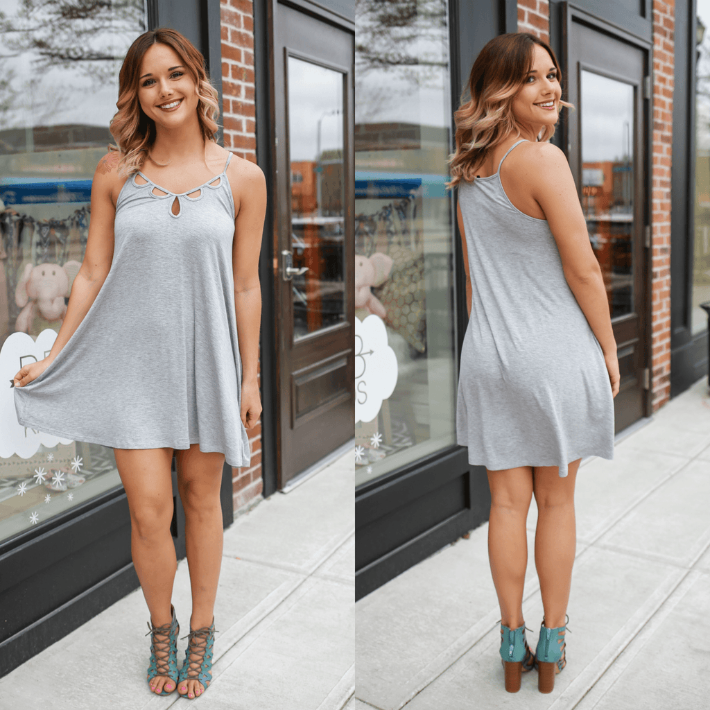 Cami Strap Cut Out V-neck Trapeze Dress