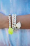 Neon Yellow Stone and Marble Beaded Stretch Bracelets