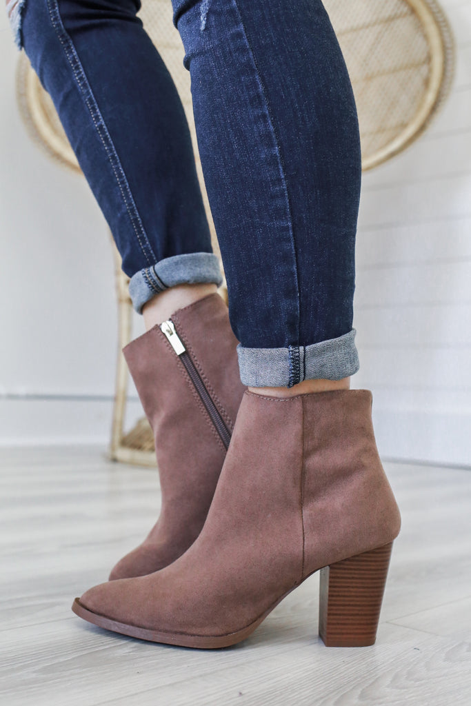 Tiber-01 Faux Suede Ankle Booties - Online Clothing Boutique
