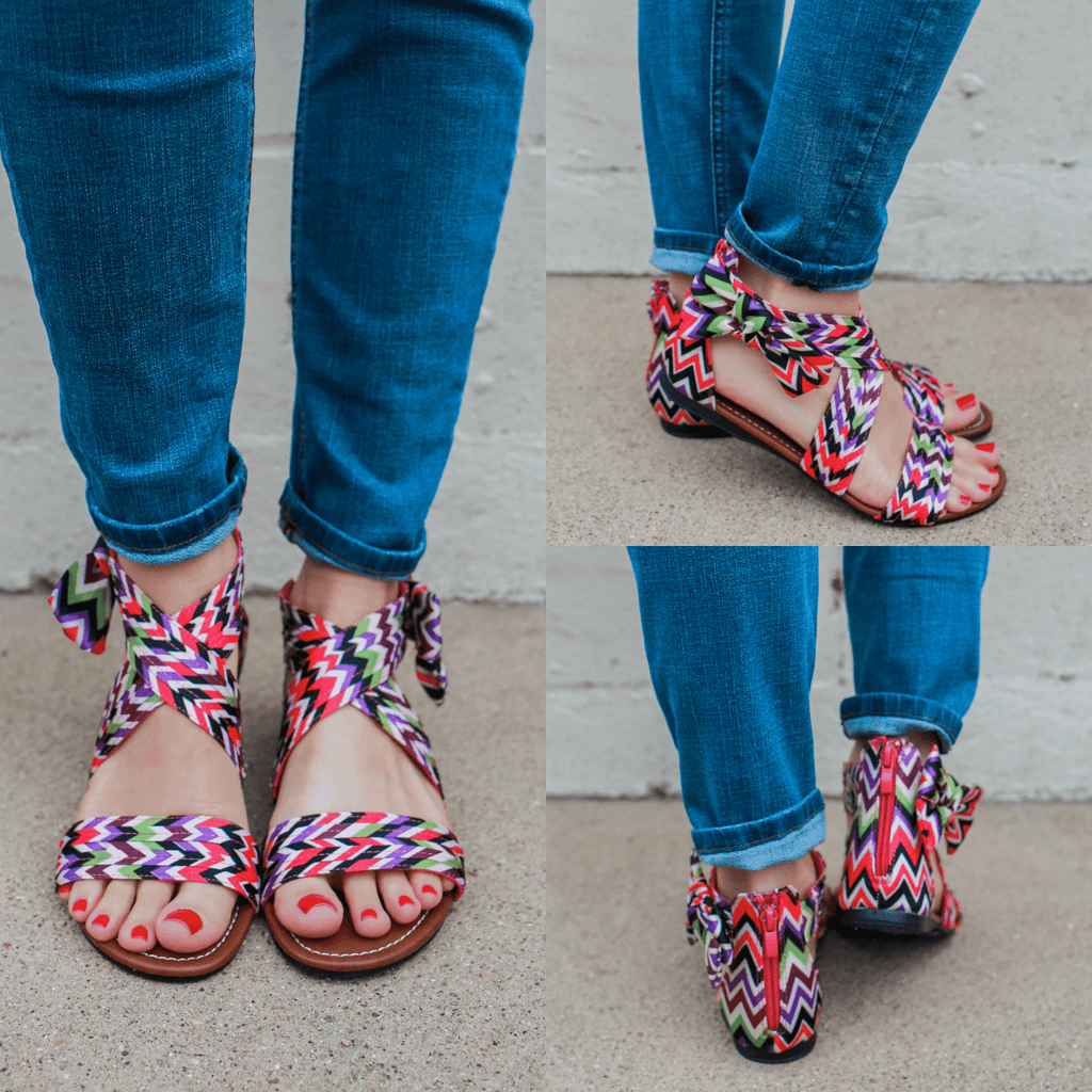 Colorful Printed Bow Accent Sandals