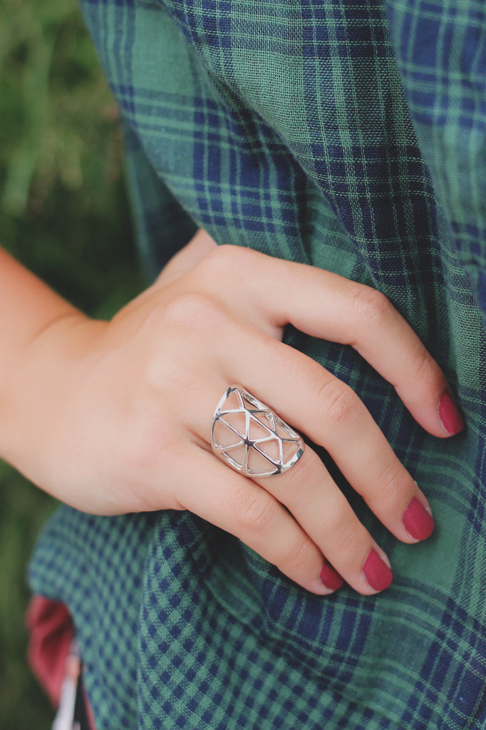 Silver High Polish Geometric Cut Out Ring