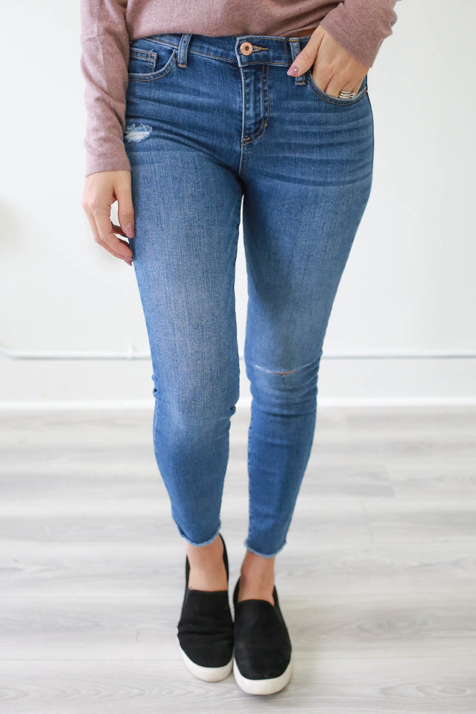 Mid Rise Lightly Distressed Denim - Online Clothing Boutique