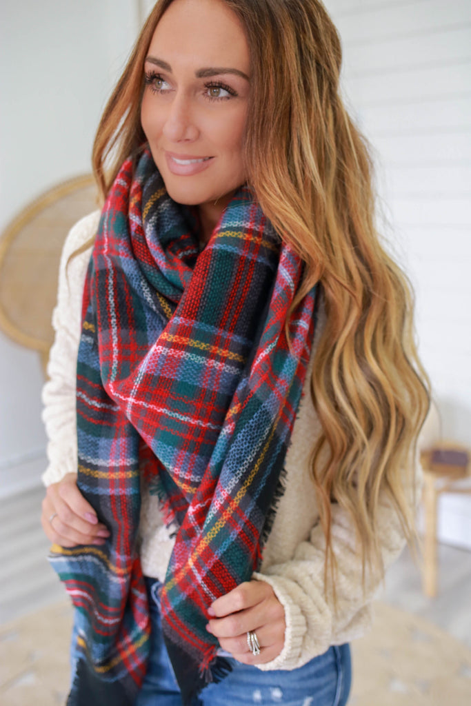 Plaid Blanket Scarf - Online Clothing Boutique