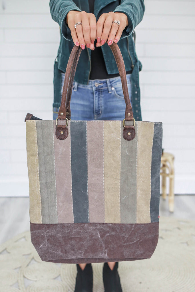 Striped Canvas Tote - Online Clothing Boutique