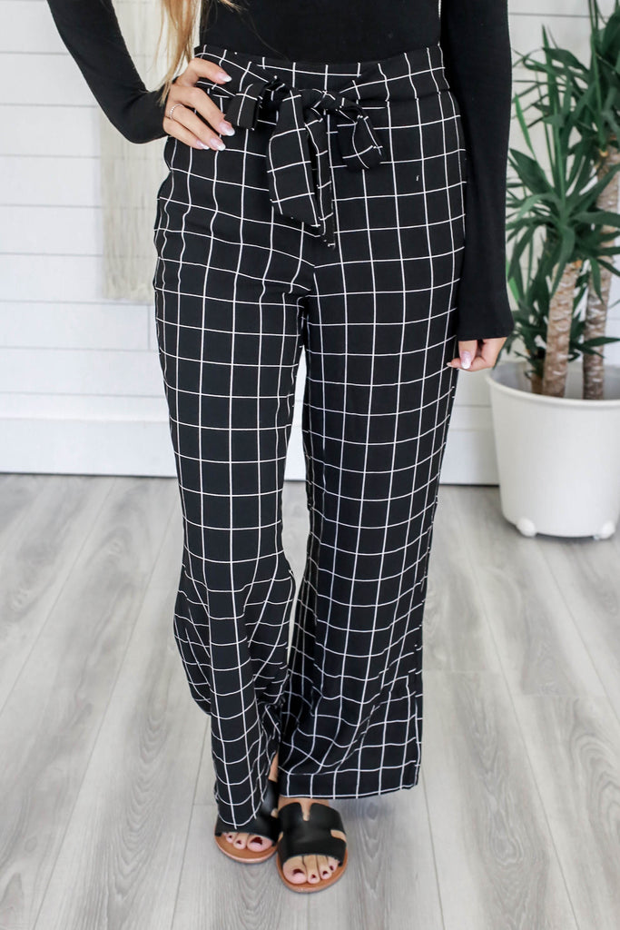Grid Print Wide Leg Pants - Online Clothing Boutique