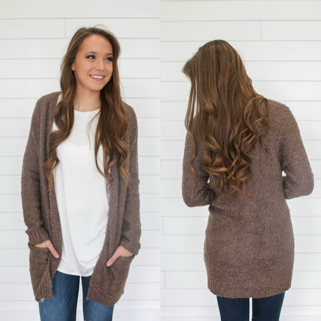 Boucle Knit Cardigan - Online Clothing Boutique