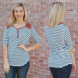 Half Sleeve Round Neck Button Detail Top