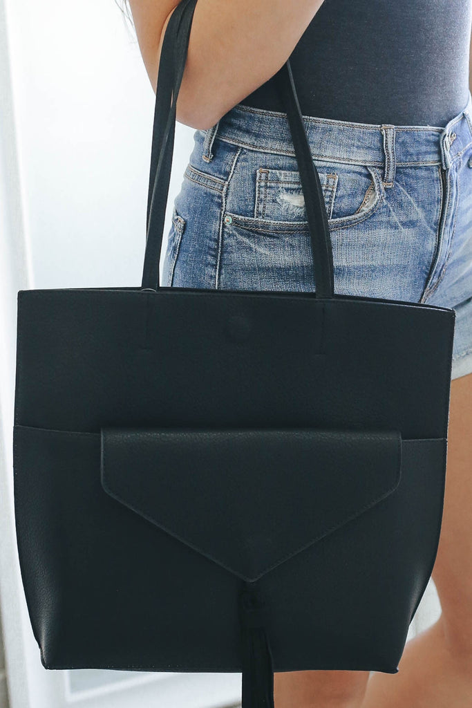 Faux Leather 2 In 1 Tote - Online Clothing Boutique