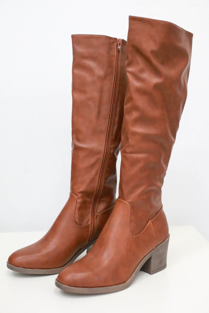 Faux Leather Knee-High Boots - Online Clothing Boutique