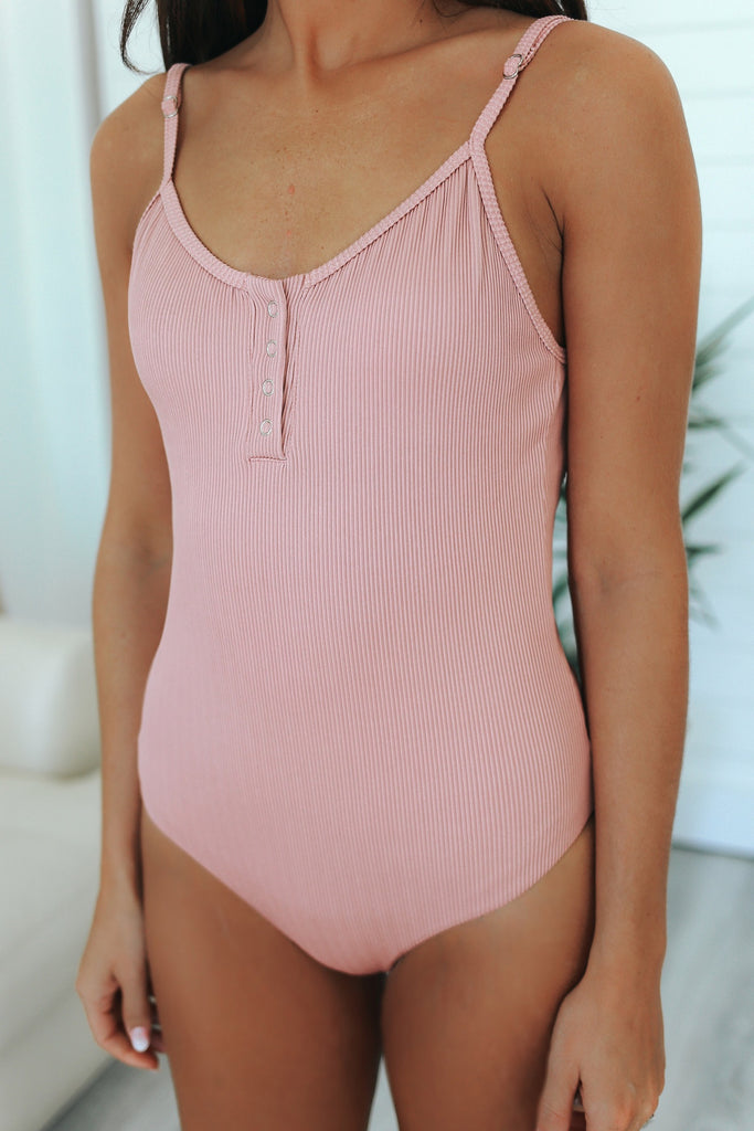 Ribbed Knit Swimsuit - Online Clothing Boutique