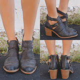 Grey Ankle Cut Out Strap Detail Booties tobin-07