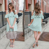 Cold Shoulder Ruffle Sleeve Button Keyhole Shift Dress