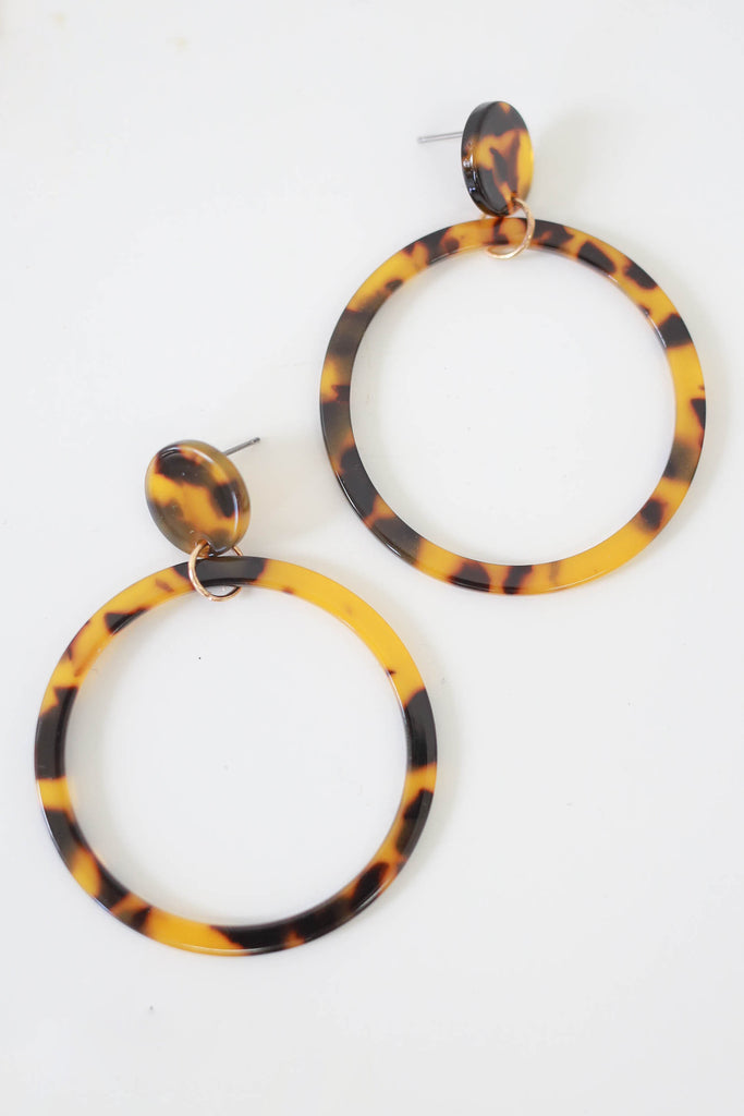 Open Circle Leopard Print Earrings - Online Clothing Boutique